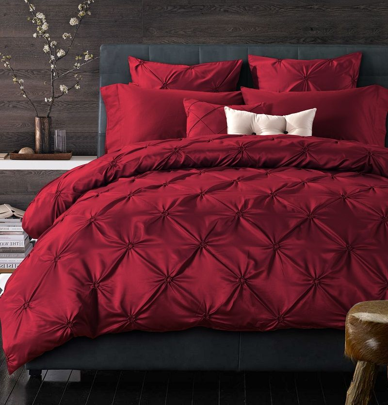 4 6 pcs pleated cotton silk luxury bedding sets king queen for King shams on queen bed