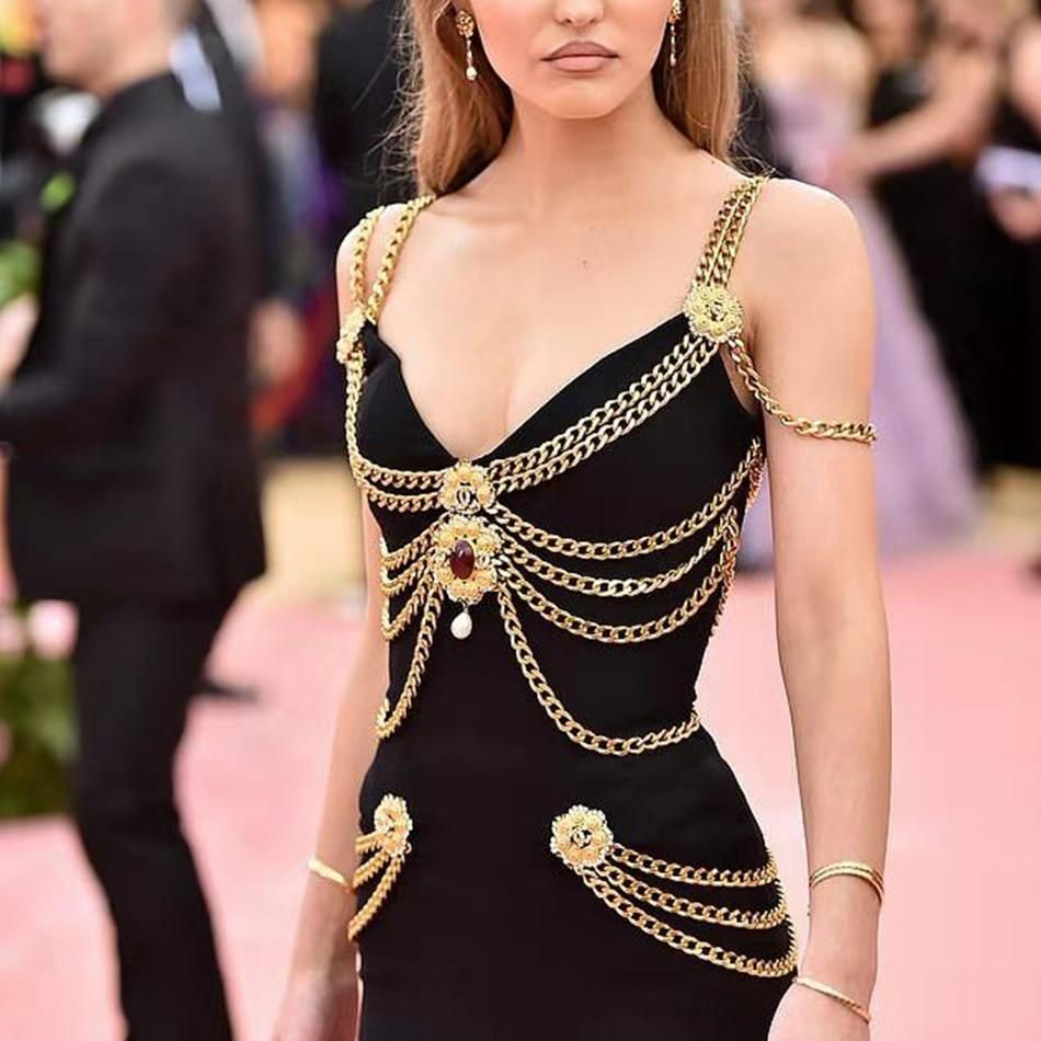 Fitted Black Midi Dress With Edgy Gold Chains Lily Rose Melody Depp Fancy Gowns Lily Rose Depp [ 950 x 950 Pixel ]