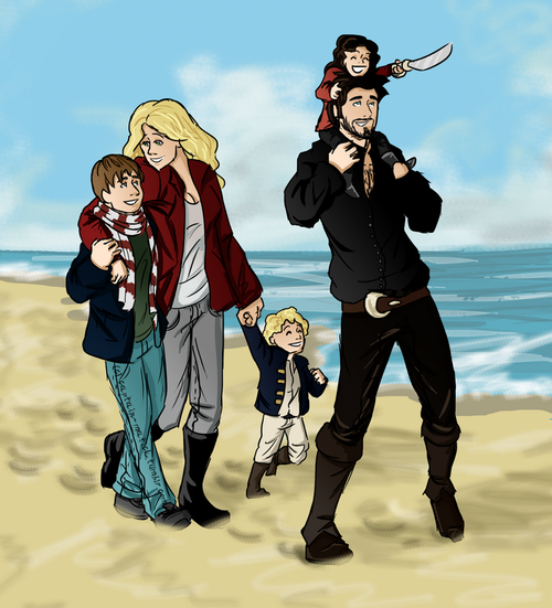 HOLY CHIZ, why have I not pinned this picture yet!!! i absolutely love it!!! can this please become a reality please please please. Aww look at their little pirate daughter!!!! <<< I SCREAMED IT'S PERFECT!!!!