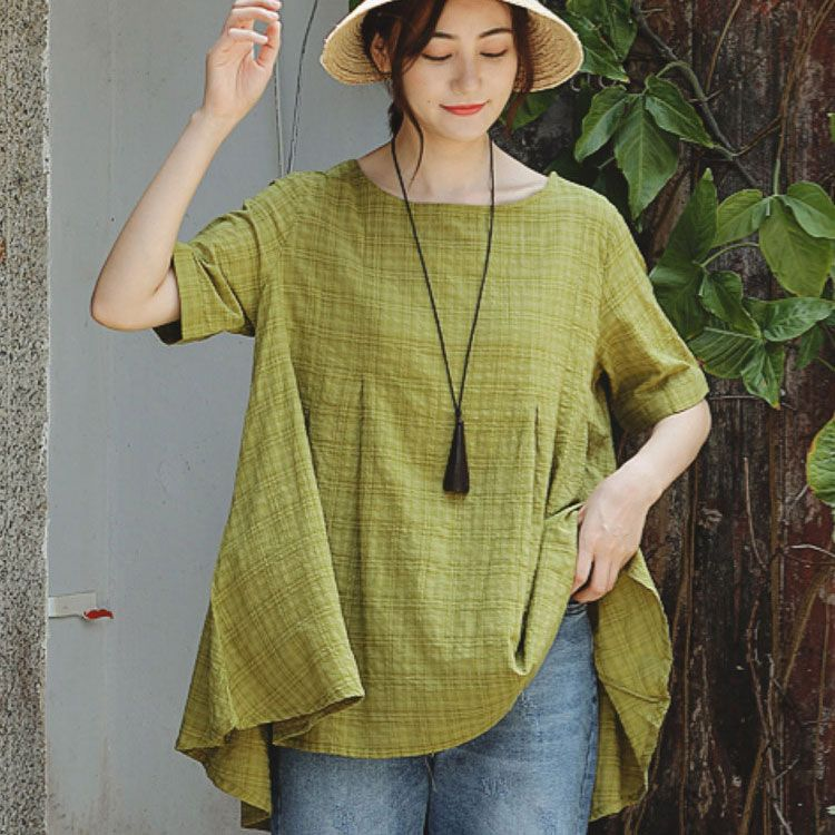 Domple Women Plus Size Short Sleeve Relaxed Fit Crew Neck Linen T-Shirt Tee