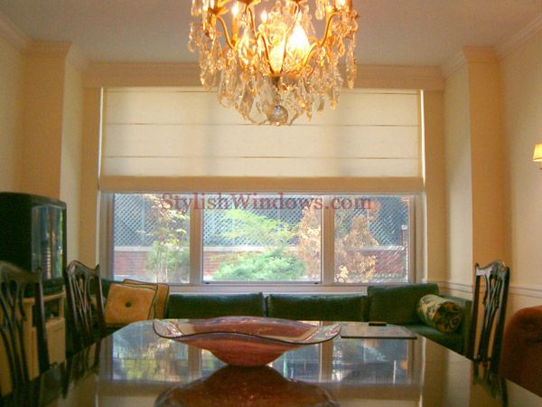 Flat Roman Shade With Ribs For Dining Room In New York City Prepossessing Dining Room Window Treatments Inspiration Design