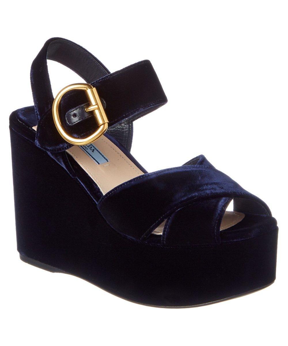 5bb7fe9a532 PRADA Prada Velvet Platform Wedge .  prada  shoes  sandals