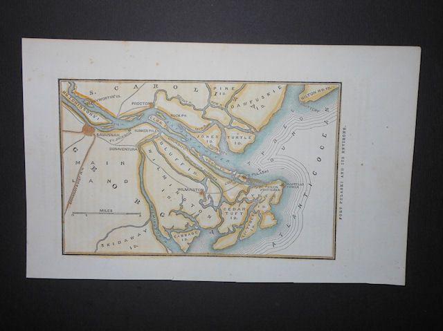 Fort Pulaski Georgia Savannah Tybee Island Civil War Forts 1863 Hand Color Map