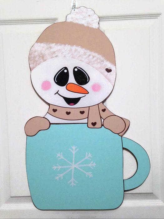 Welcome snowman door hanger by DoorHangersByRainy on Etsy