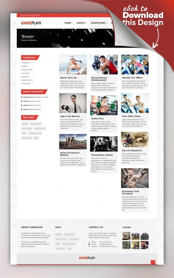 Gameplan - Event and Gym Fitness WordPress Theme | Business calendar ...