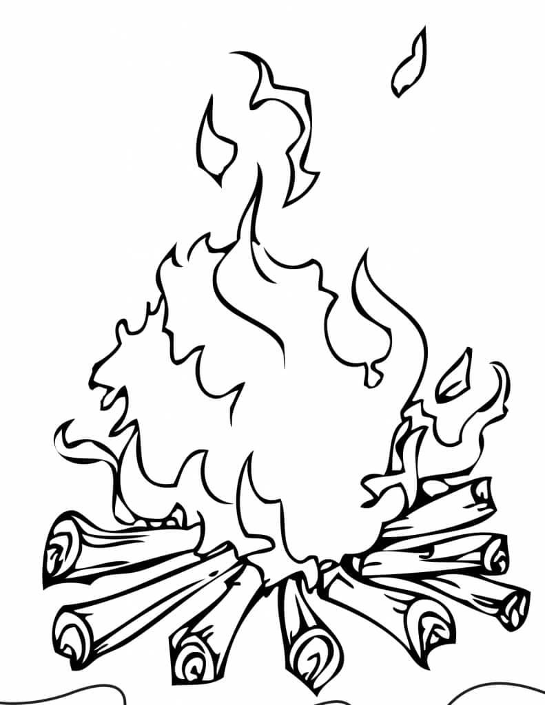 Camp Fire Coloring Page With Images Camping Coloring Pages