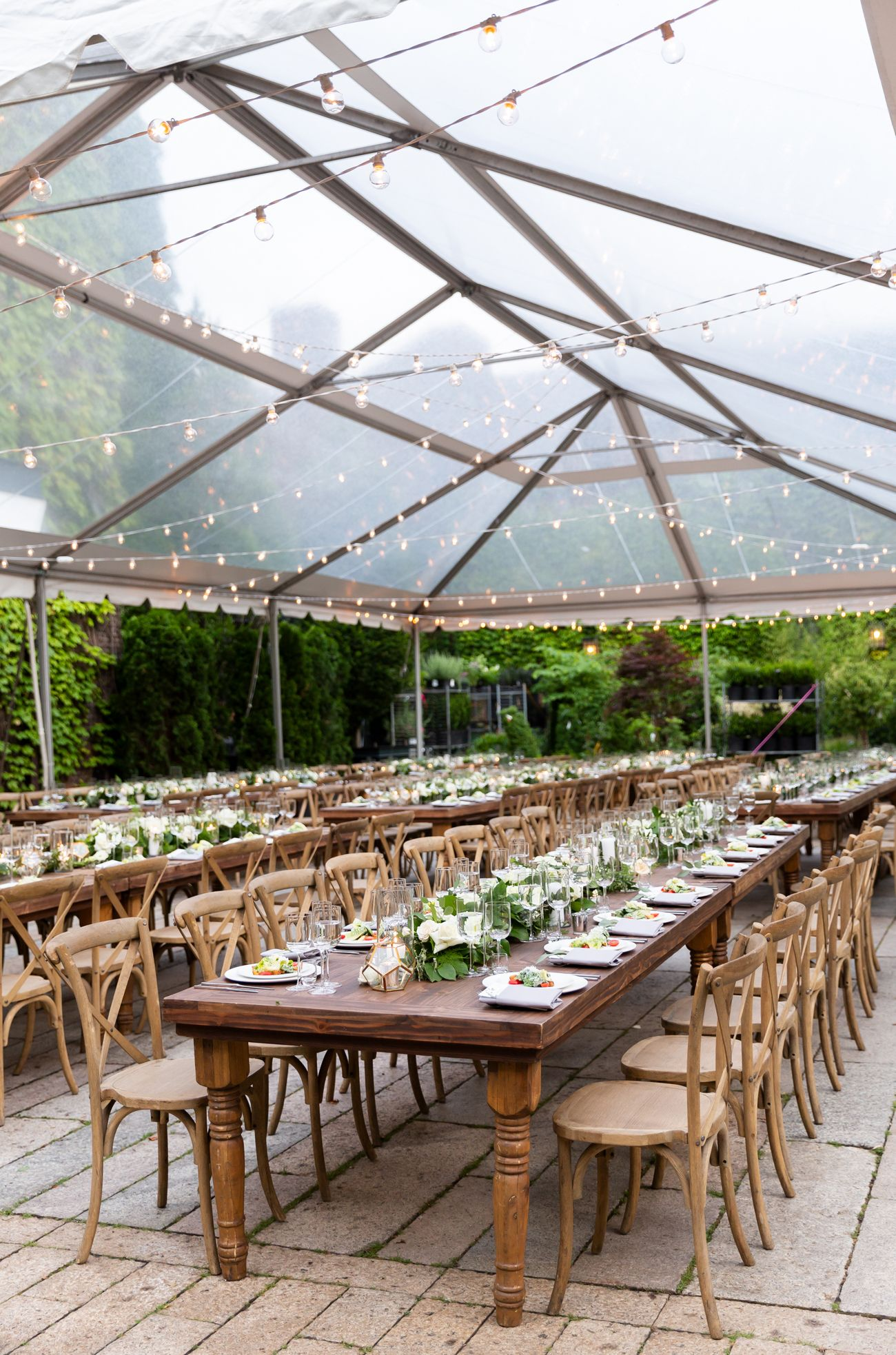 Outdoor wedding reception at The Foundry. Outdoor wedding