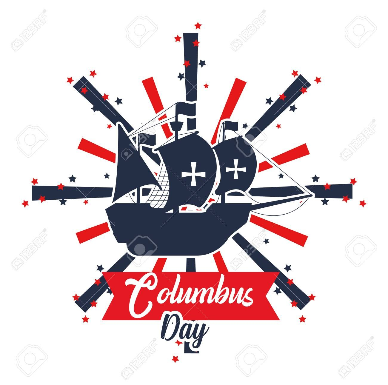 Happy Columbus Day Card With Elements And Cartoons Vector Illustration Graphic Dsign Aff Card Ele Happy Columbus Day Cartoons Vector Vector Illustration