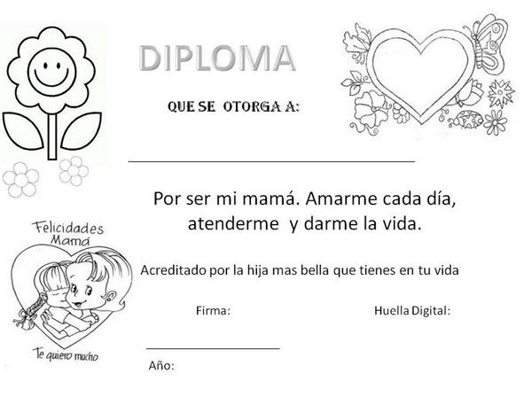 7 Dibujos Del Dia De La Madre Para Colorear Y Felicitar A Mama Pequeocio Dibujos Del Dia De Las Madres Diplomas Para Mama Dia De Las Madres