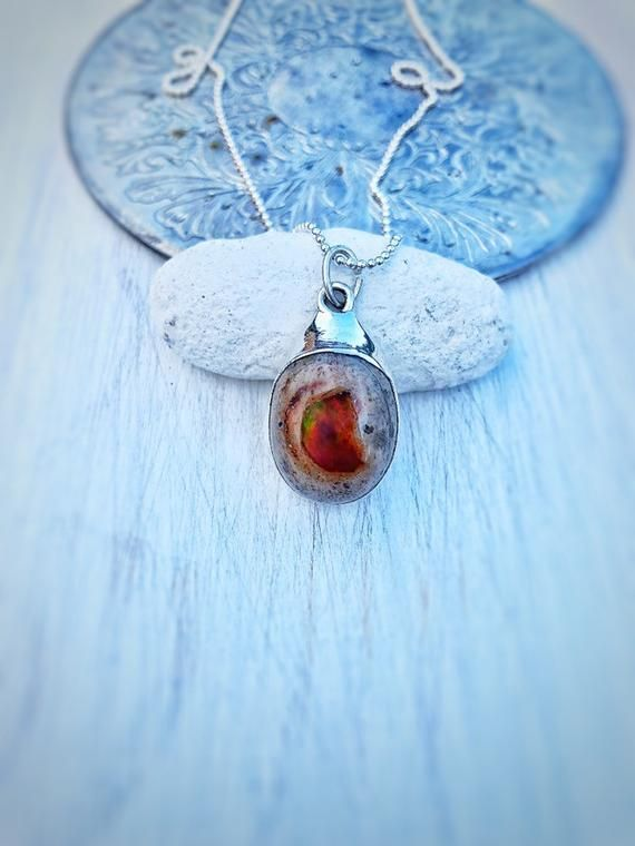Fire Opal Necklace, Mexican Fire Opal, Opal Necklace, Raw ...