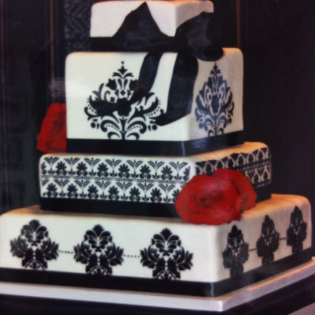 Damask White And Black Wedding Cake With Red Roses