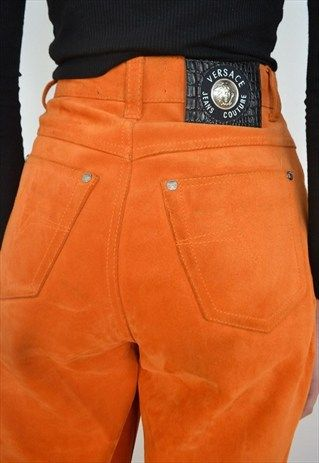 33daeccc88e9 VINTAGE VERSACE ORANGE HIGH WAISTED SUEDE MOM JEANS TROUSERS   wooww ...