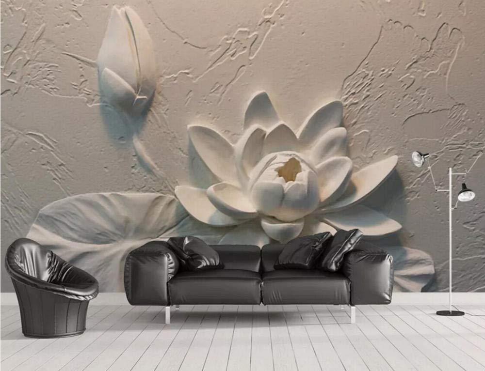 Wall Mural 3d Wallpaper Embossed Lotus Modern Living Room In 2020