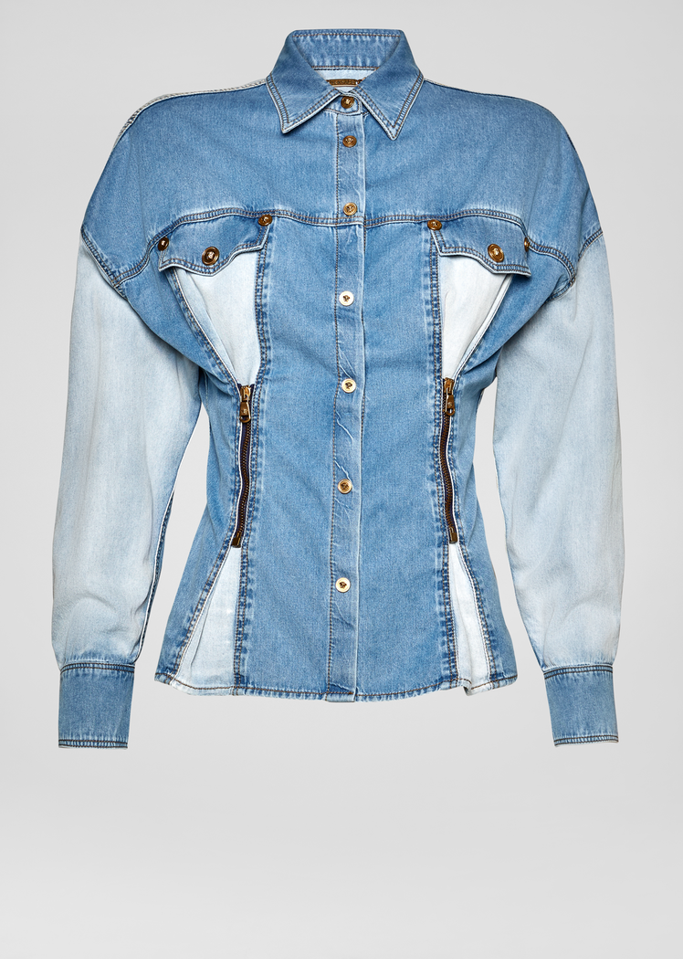 Versace SS19 | Zip pleated two toned denim jacket ($1,675