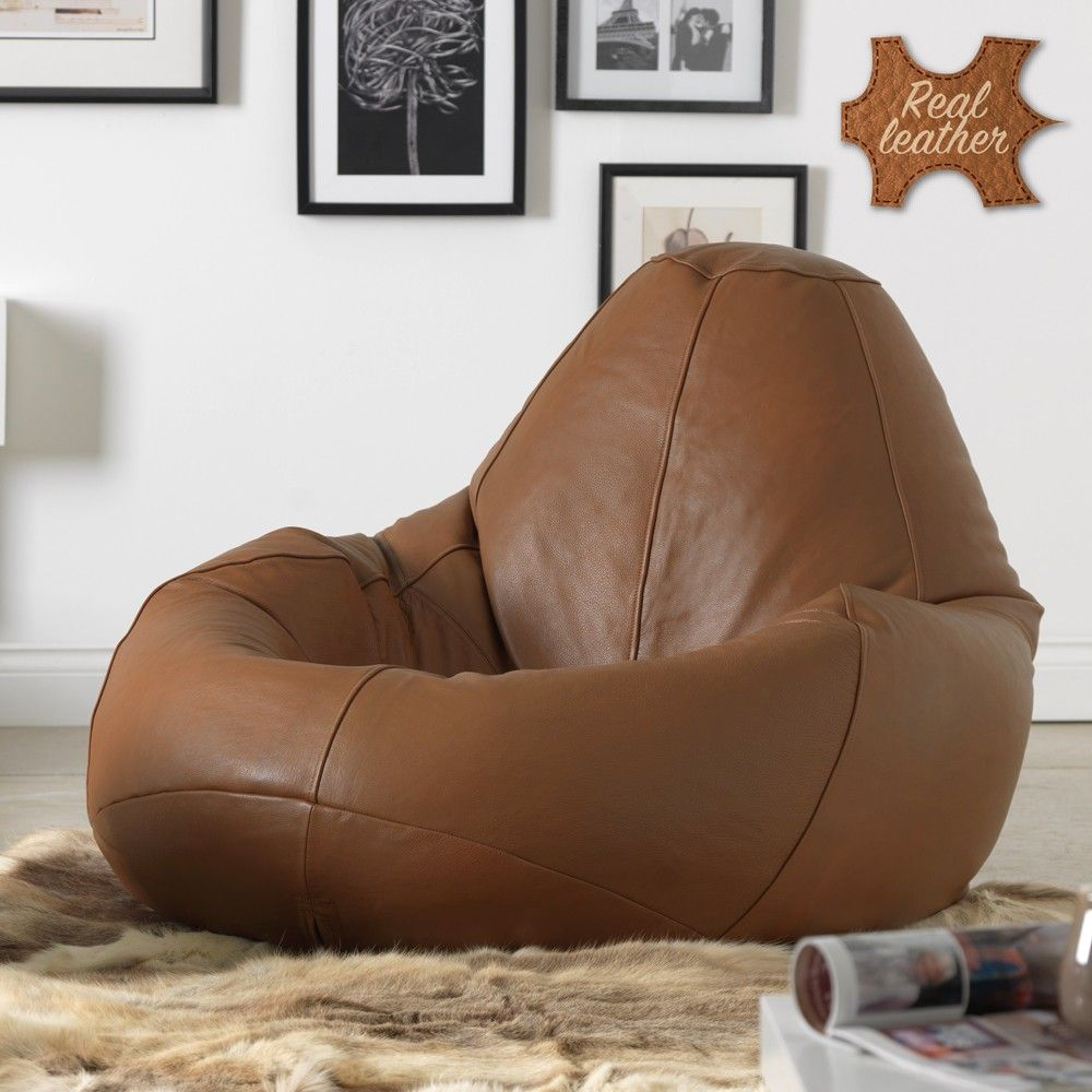 ICON™ Real Leather XXL Gaming Bean Bag Recliner Tan