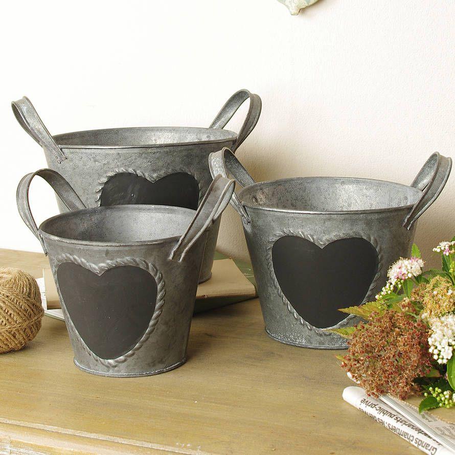 Set Of Three Blackboard Buckets