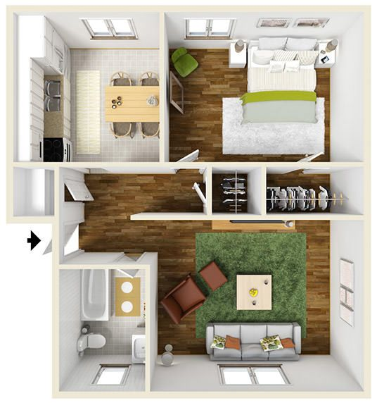 700 Square Feet Apartment 700-square-foot one-bedroom apartment floor plan - furnished