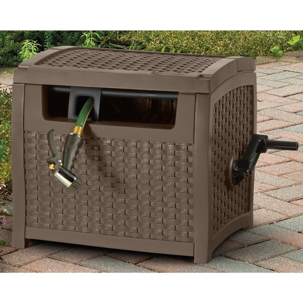 Suncast Garden Water Hose Reel Cart Hideaway Storage Cover Box 175 Ft Patio  Yard