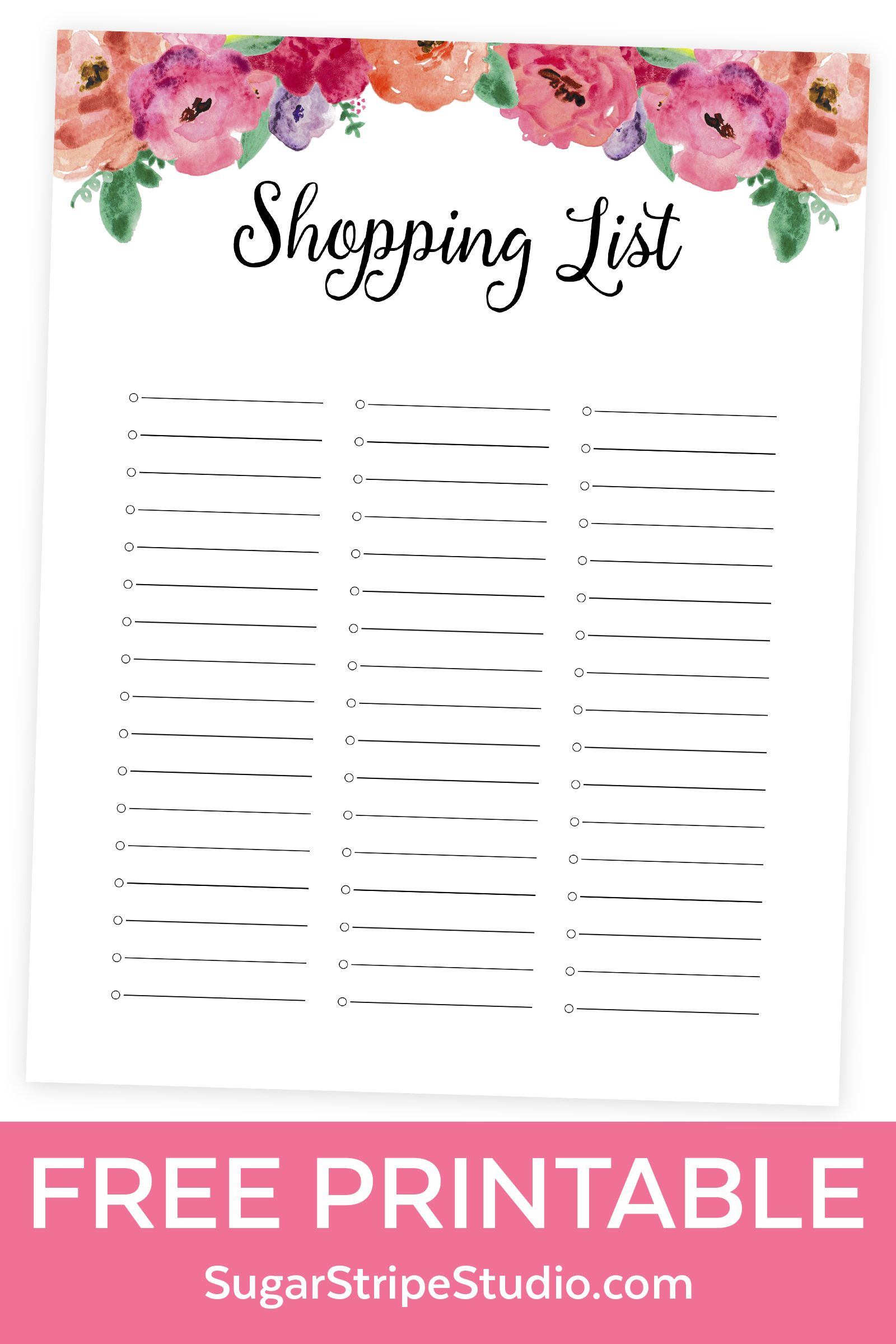 Free Printable Grocery List Free Shopping List Printable