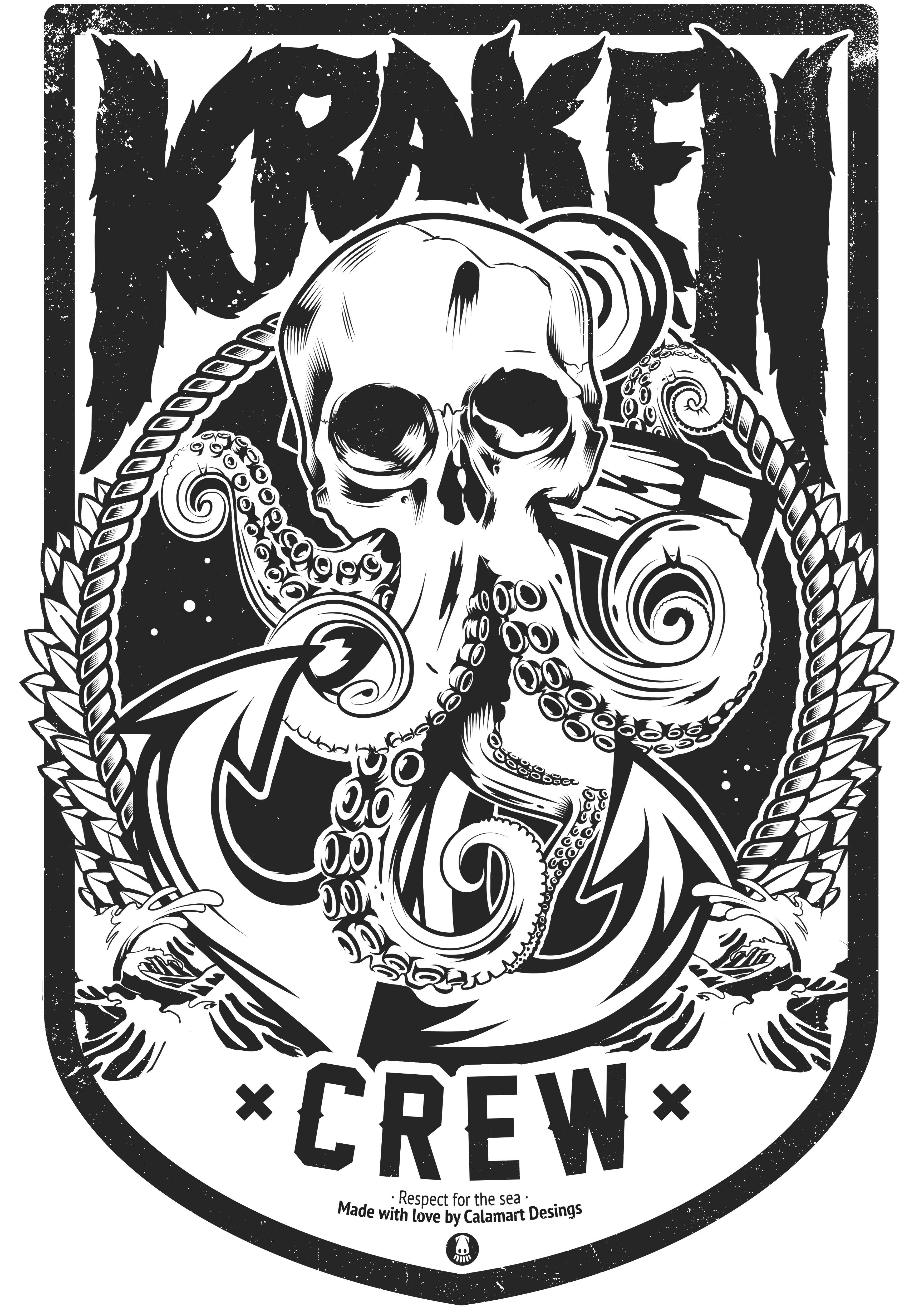 Kraken Skull Ink Kraken Octopus Illustration Draw Pulpos