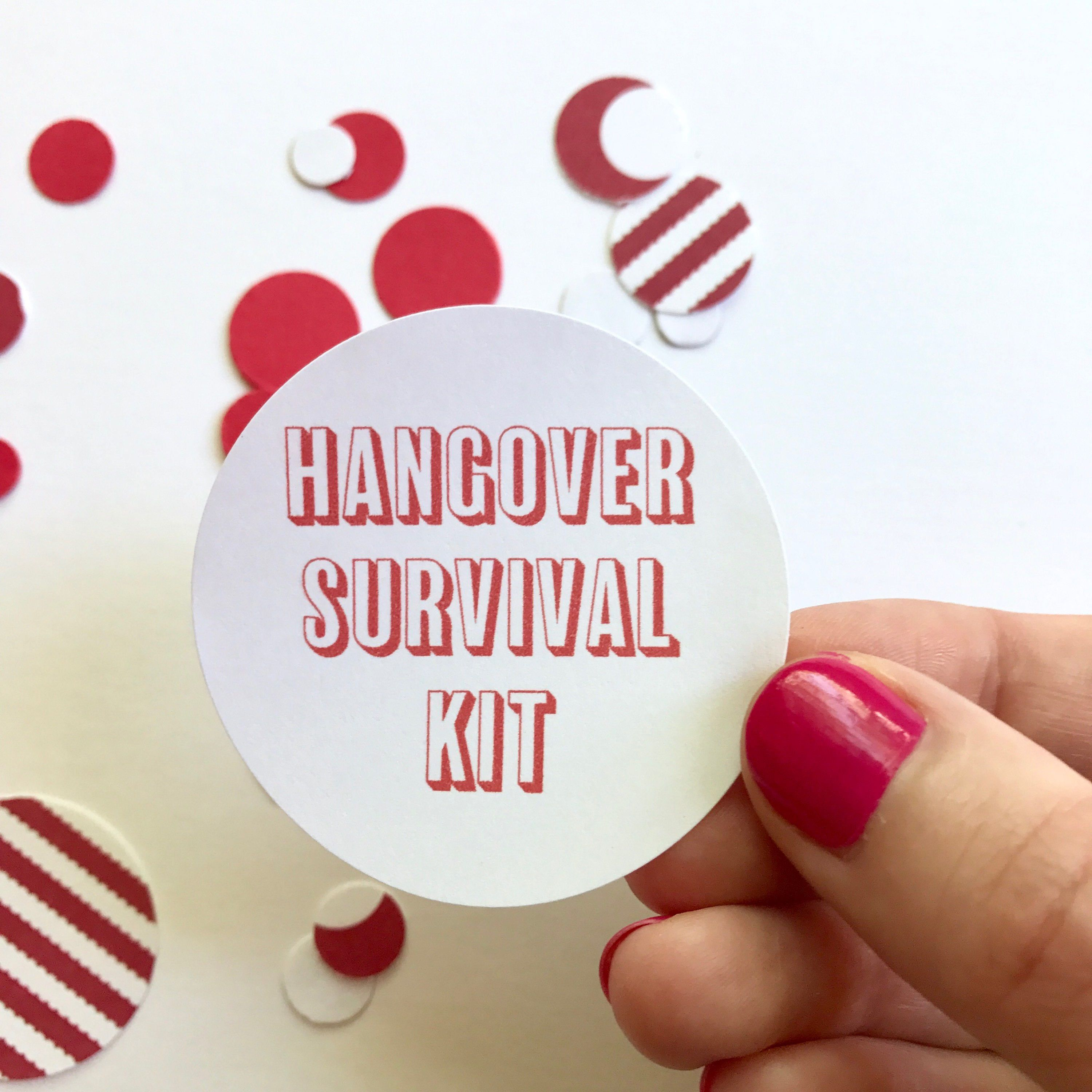 Hangover Survival Kit Sticker | Round Circle Sticker Recovery ...