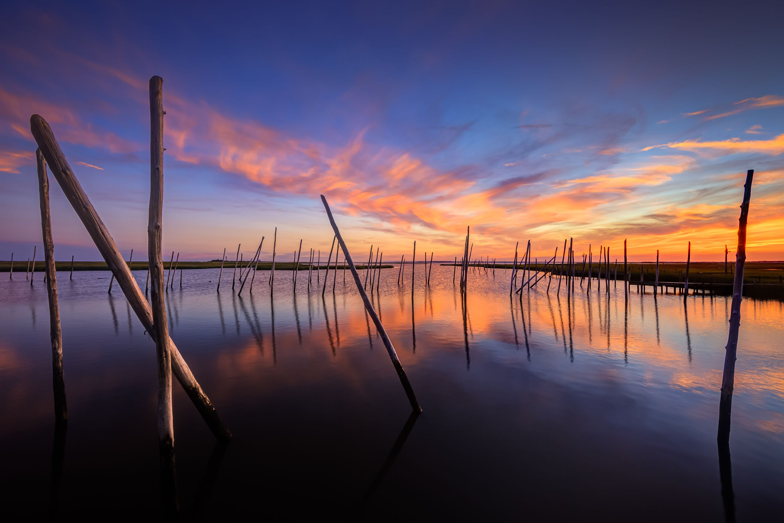 Wide angle HDR photograph of an abandoned marina and a