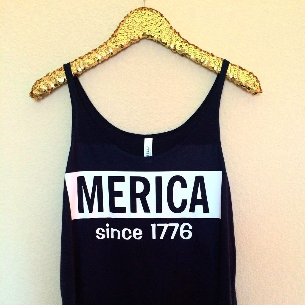 Merica - Since 1776  - Slouchy Relaxed Fit Tank - Holiday Tank - Fourth of July - Ruffles with Love - Fashion Tee - Graphic Tee