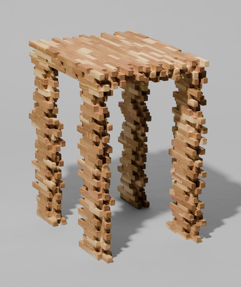 Jenga? Interlaced Stool And Coffee Table By Philipp Aduatz