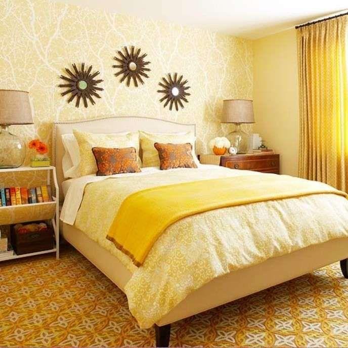 Abbinare i colori in una stanza - Camera da letto gialla decò