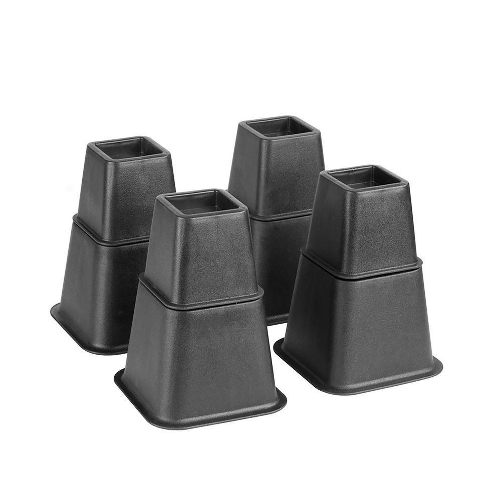 Simplify Adjustable 8 Piece Black Bed Risers Set In 2020