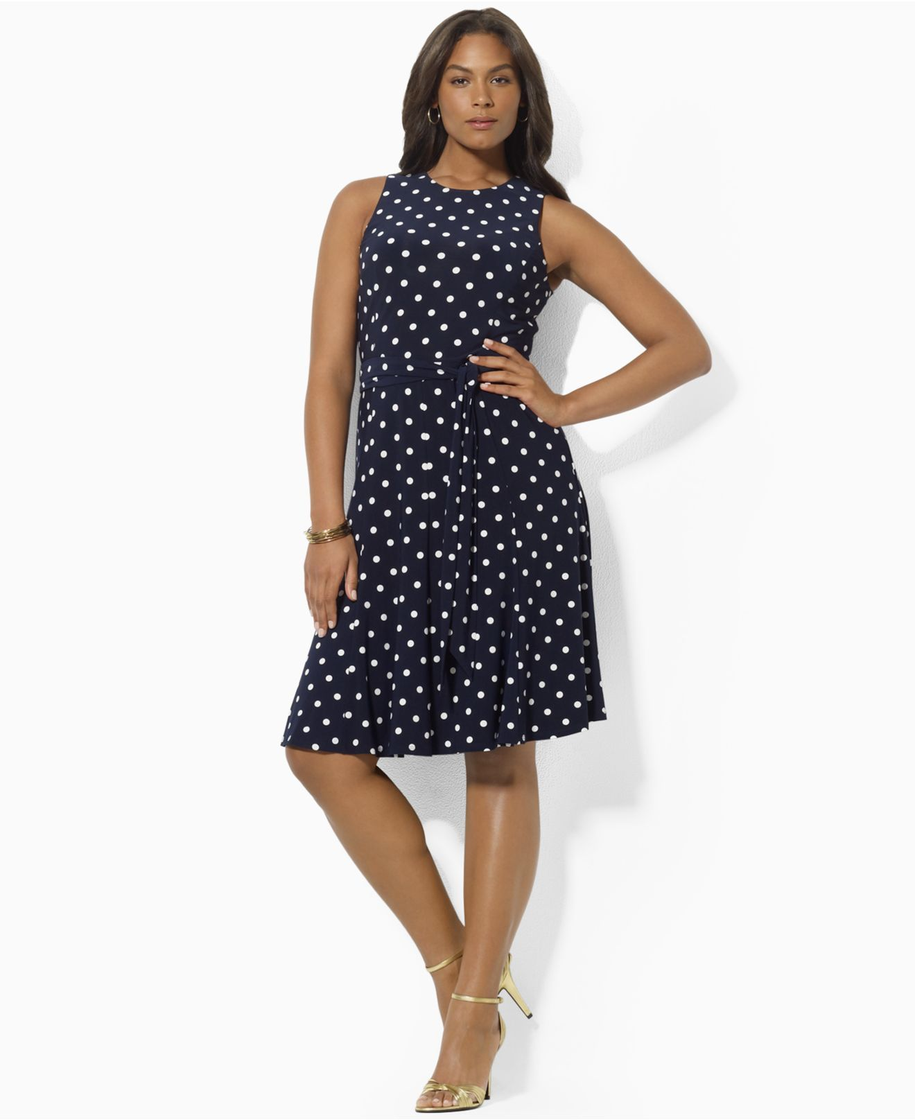 Lauren by Ralph Lauren Plus Size Dress, Sleeveless Polka-Dot ...