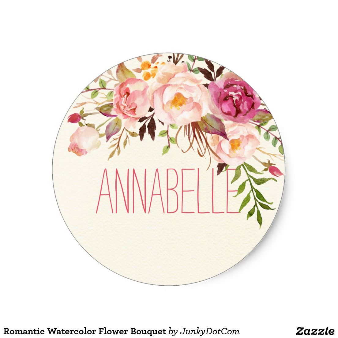 Romantic Watercolor Flower Bouquet Classic Round Sticker Zazzle