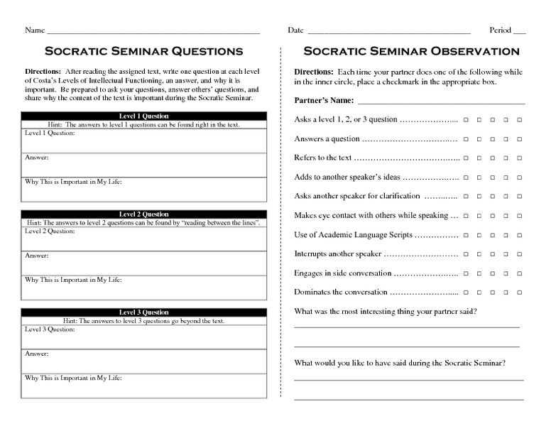 Socratic seminar worksheet worksheets for school roostanama for Socratic seminar lesson plan template