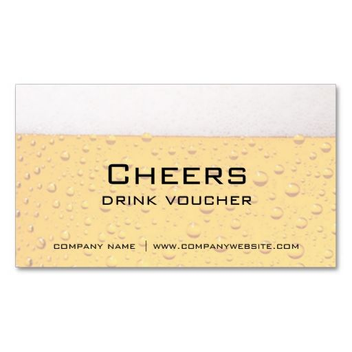 Bar, Restaurant or Brewery Drink Vouchers Business Card Card - make your own voucher