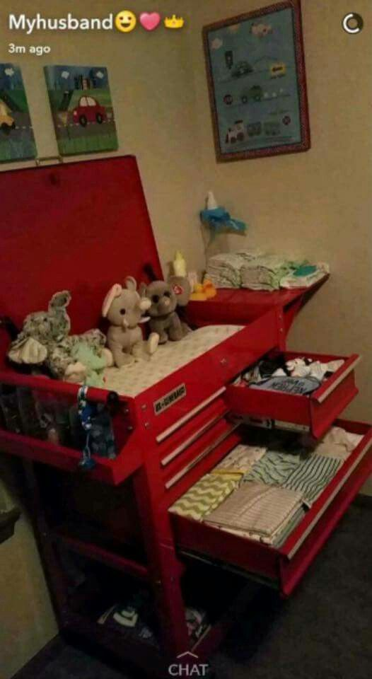 Tool Box Turned Into A Unique Baby Changing Table. DIY