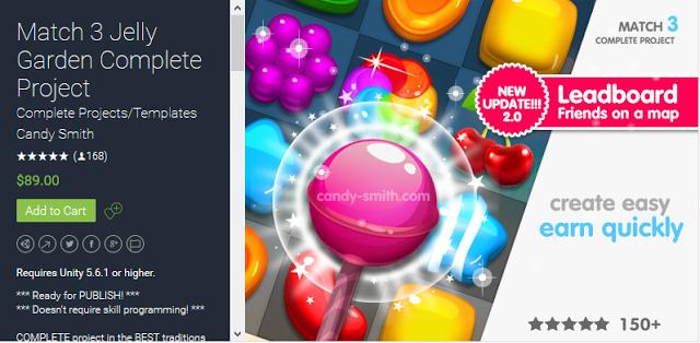 Download Reskin Source Code Game Unity Jelly Garden Match 3