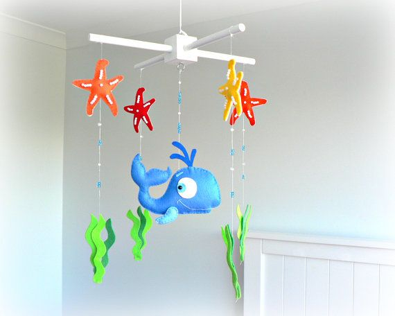 Whale mobile  baby mobile  under the sea  door LullabyMobiles