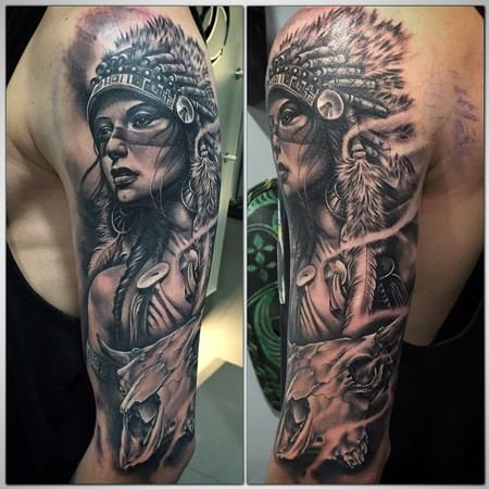 bc3213875 Tattoos - Realistic Indian girl black and grey & cow skull - 117229 ...