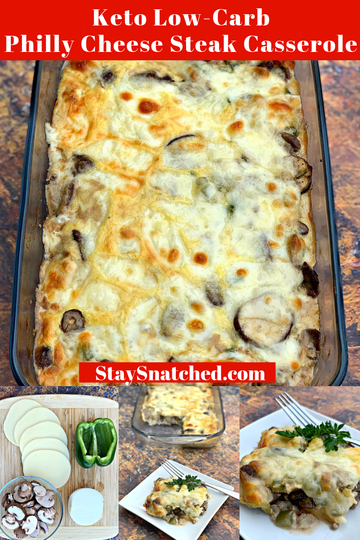Keto Low-Carb Philly Cheese Steak Casserole is a quick and easy steak dinner recipe with sirloin steak, cream cheese, green bell peppers, and mushrooms. This is the best steak marinade recipe and you can also use flank steak if you wish. If you are looking for sides to pair with your steak, going the casserole route is perfect! Everything in one meal prep friendly dish. #KetoRecipes #KetoSteak #recipesforflanksteak