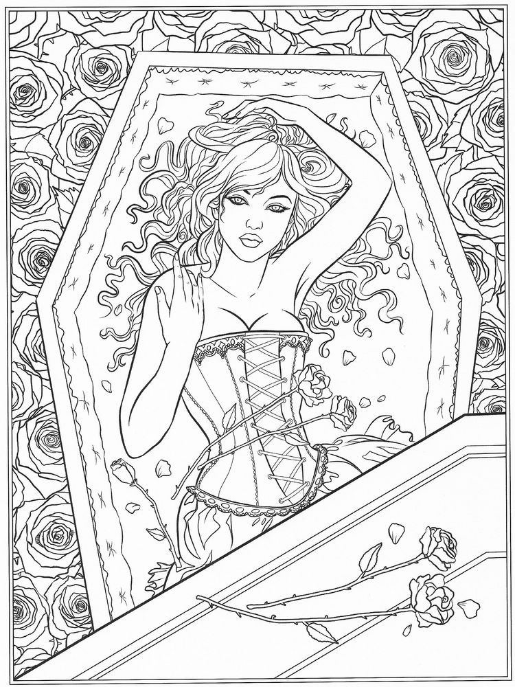Gothic Coloring Pages Below Is A Collection Of Gothic Coloring Page Which You Can Download F In 2020 Fairy Coloring Pages Detailed Coloring Pages Chibi Coloring Pages