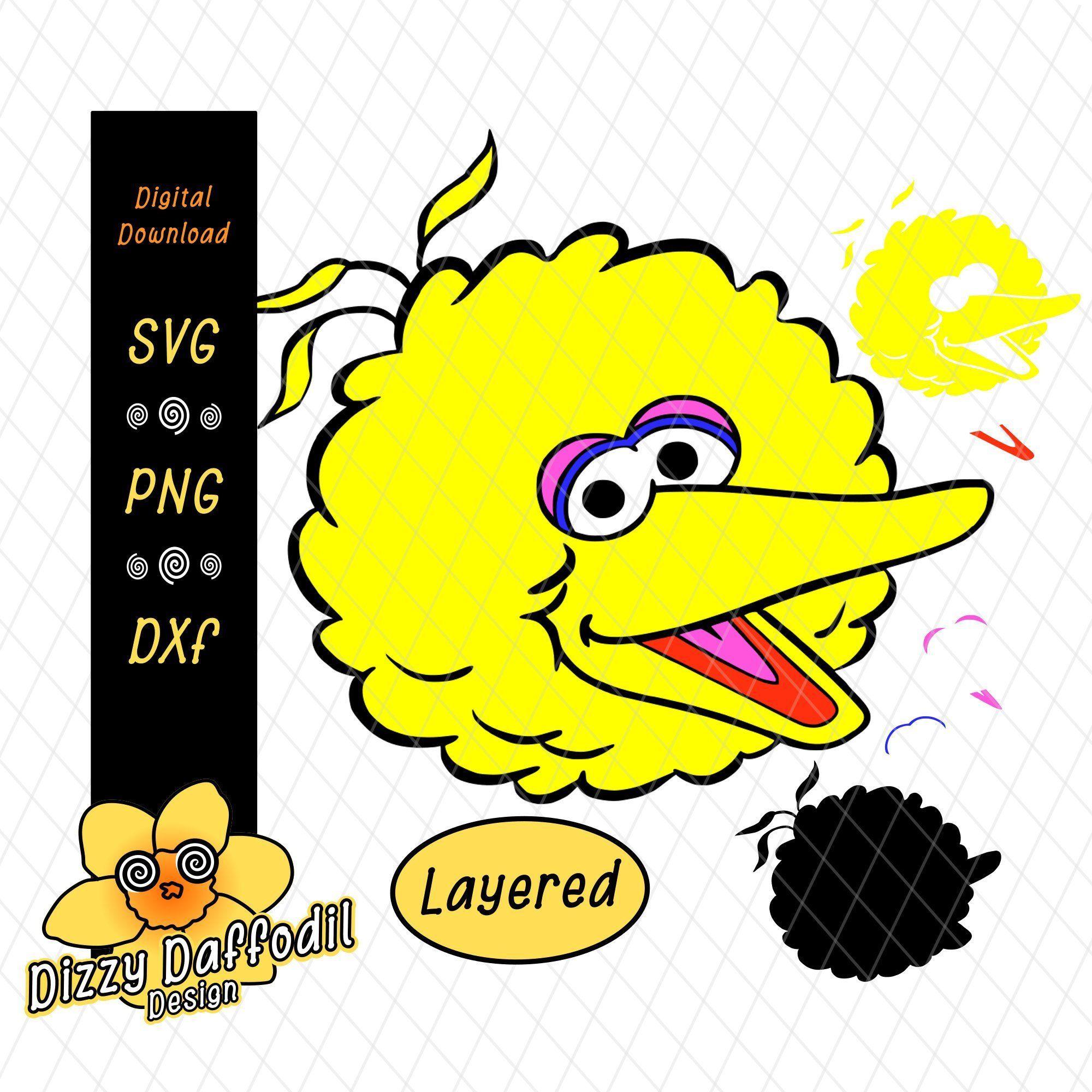 Big Bird Face Head Svg Dxf Sesame Street Digital Download For Birthday Card Or Birthday Invitation By Dizzydaffodildesig Big Bird Birthday Cards Sesame Street