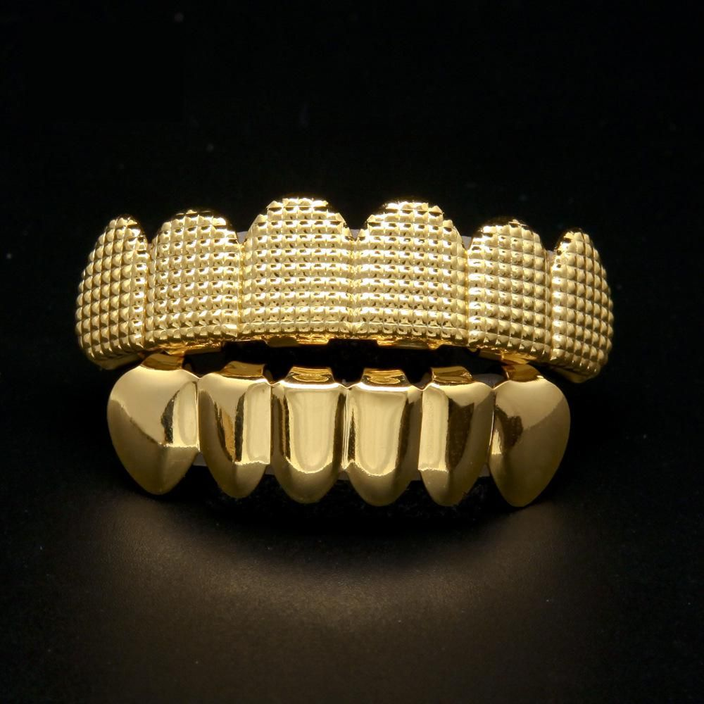 Iftec gold color iced out hip hop teeth for mouth grillz caps top