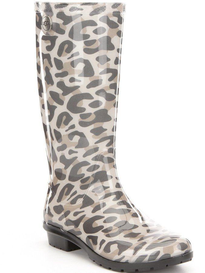 3aebf29cf04 UGG Shaye Leopard Waterproof Rubber Shearling Rain Boots