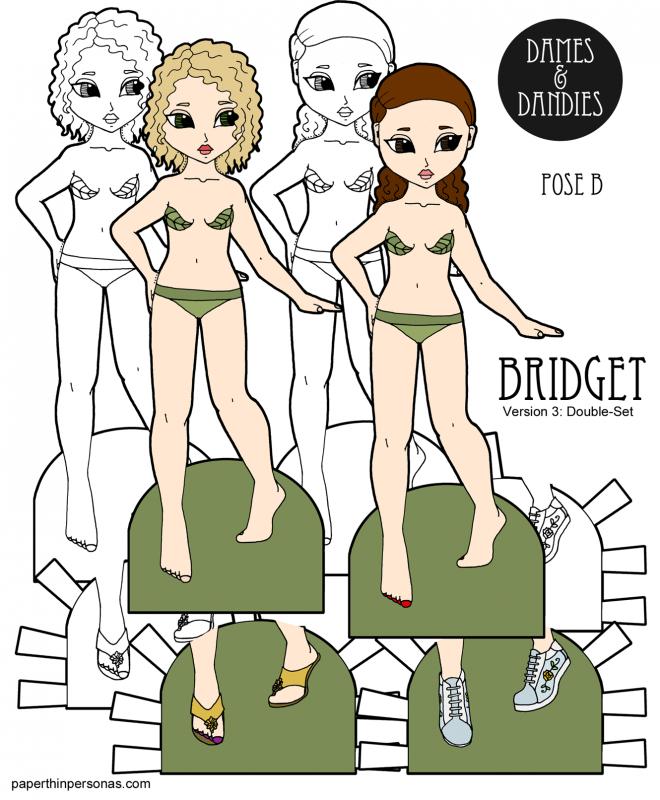 Two Bridget Dress Up Dolls Dress Up Dolls Paper Dolls Dolls