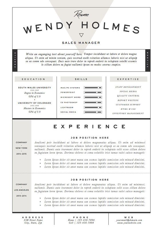 Resume Template / CV Template + Cover Letter for Word ( 3 page pack - example cover letter resume