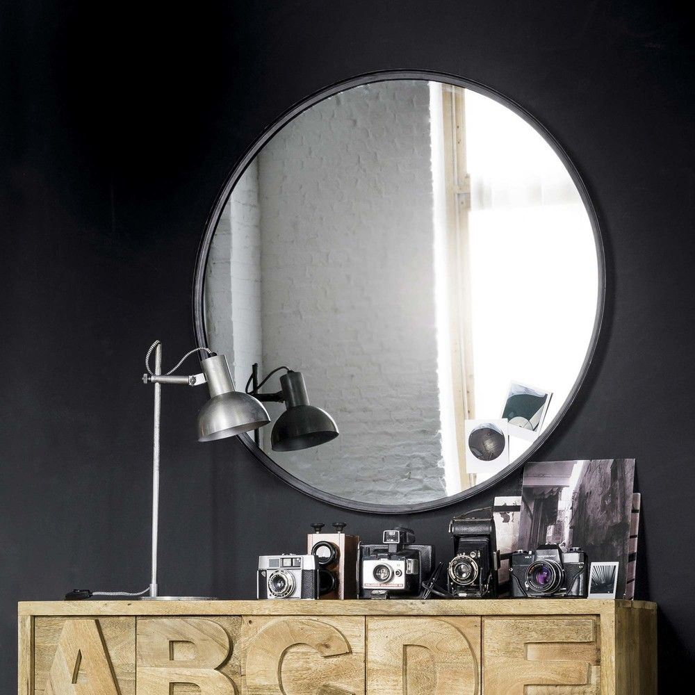Round Black Metal And Tinted Glass Mirror D 90 Cm Maisons Du Monde Glass Mirror Mirror Round Mirror Bathroom