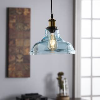 Overstock Pendant Lights Prepossessing Harper Blvd Gracie Colored Glass Bell Pendant Lamp  Soft Aqua Decorating Design