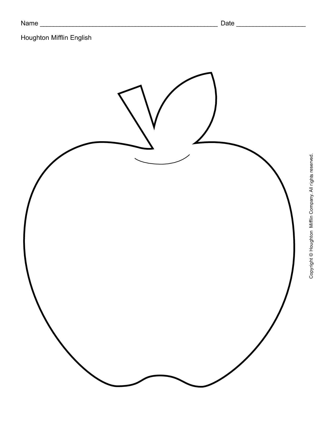 Apple Outline Printable Teacher Worksheet