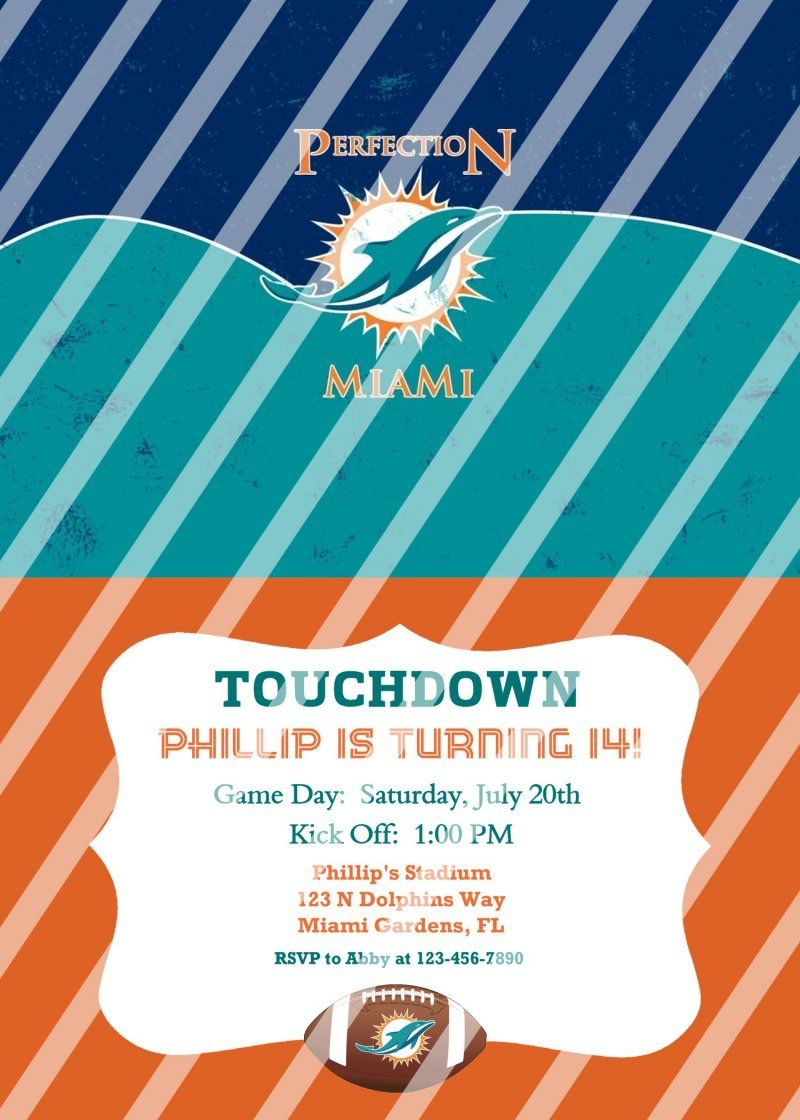 Miami Dolphins Personalized Party Invitation #66 (digital file you ...