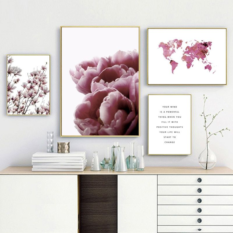 Cheap Painting Calligraphy Buy Directly From China Suppliers Tulip Magnolia Pink World Map Wall Art World Map Wall Art Wall Art Canvas Painting Map Wall Art